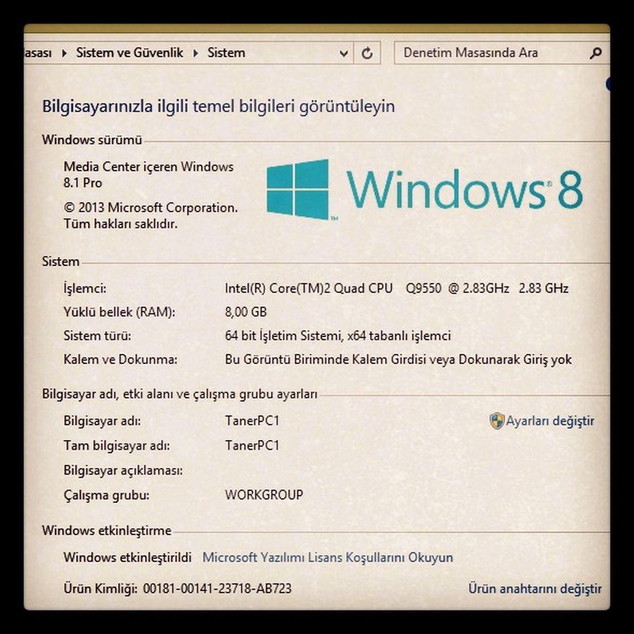 İki günlük uğraş sonucunda, Media Center içeren Windows 8.1 Pro