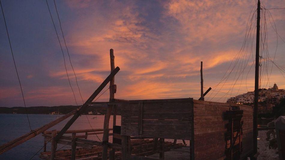 Trabucco sul mare, Vieste. Sunset Sky Architecture Beauty In Nature Sea Day Italy Vieste Puglia Tranquility