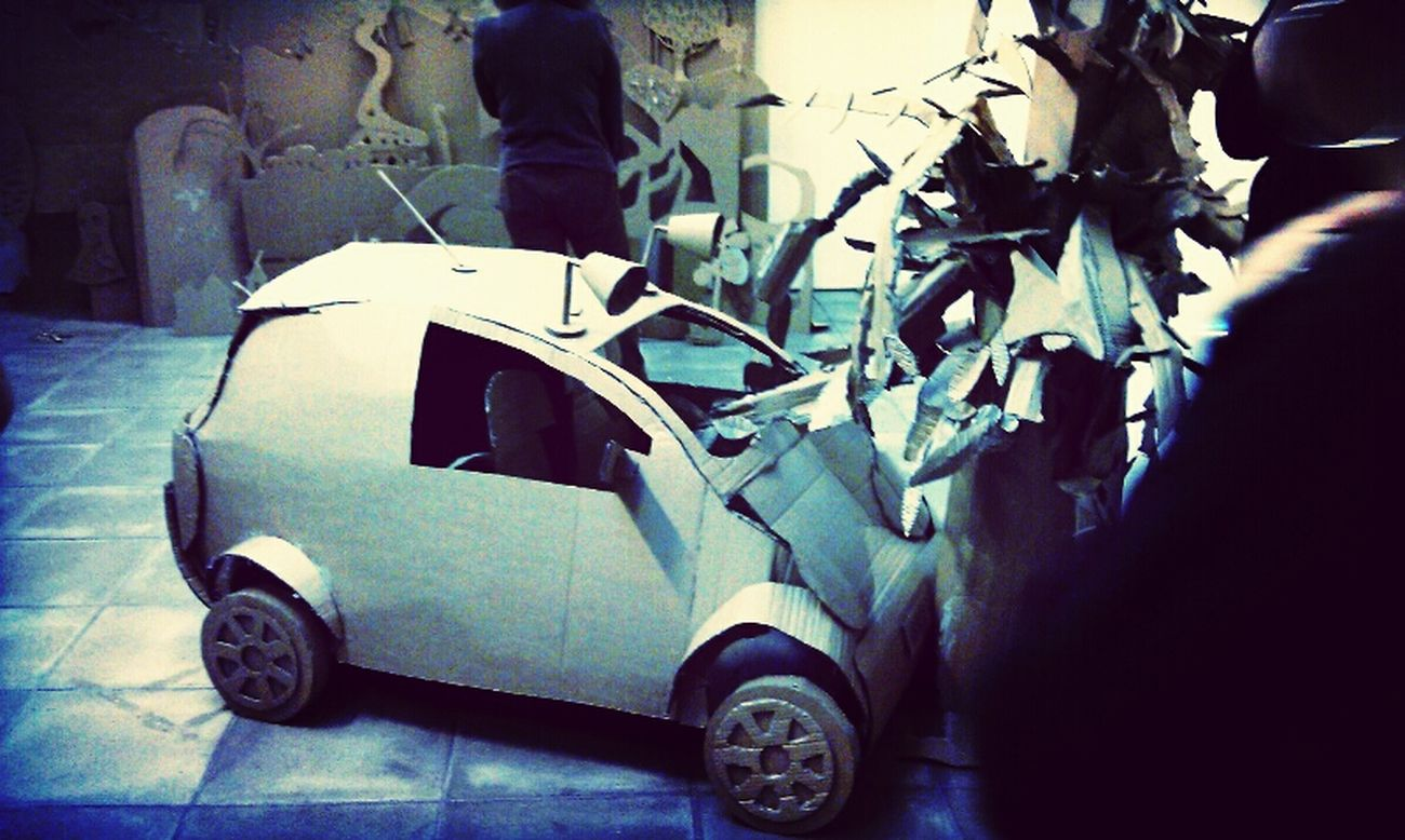 Art Cardboard Installation Car Crash