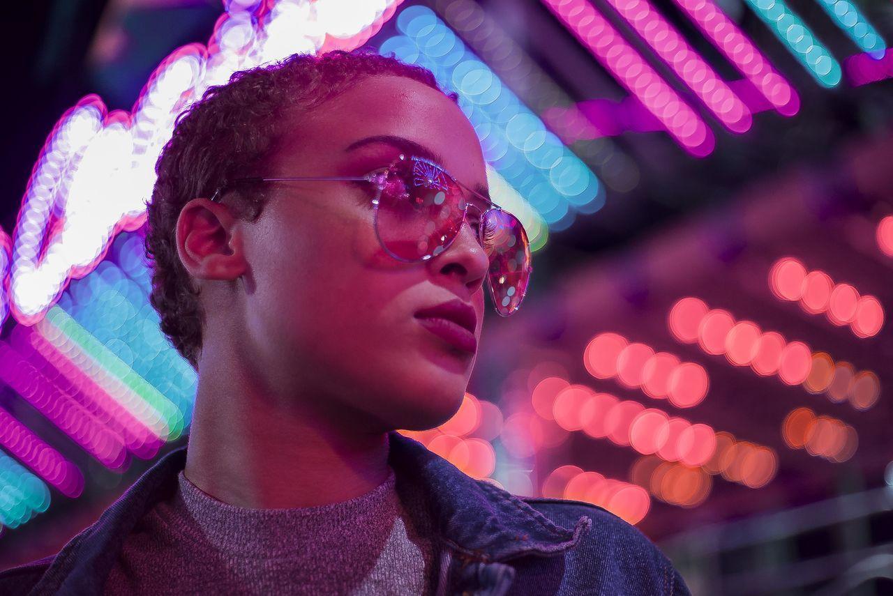 Night Lights Retro headshot illuminated lifestyles lightskin multi colored neon neon life neon lights neonlights night nightlife portrait roller coaster
