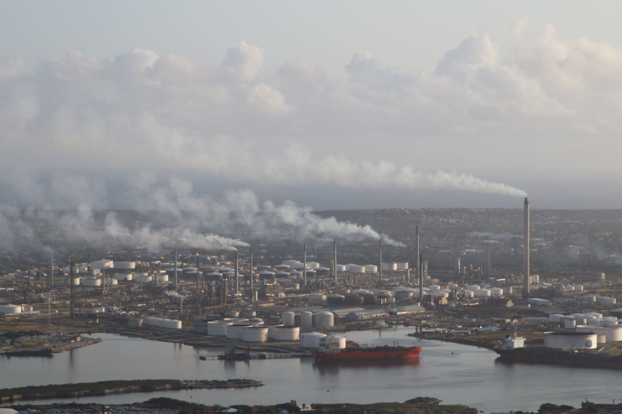 Air Pollution Built Structure City Day Environmental Issues Harbor No People Outdoors Refinery Water