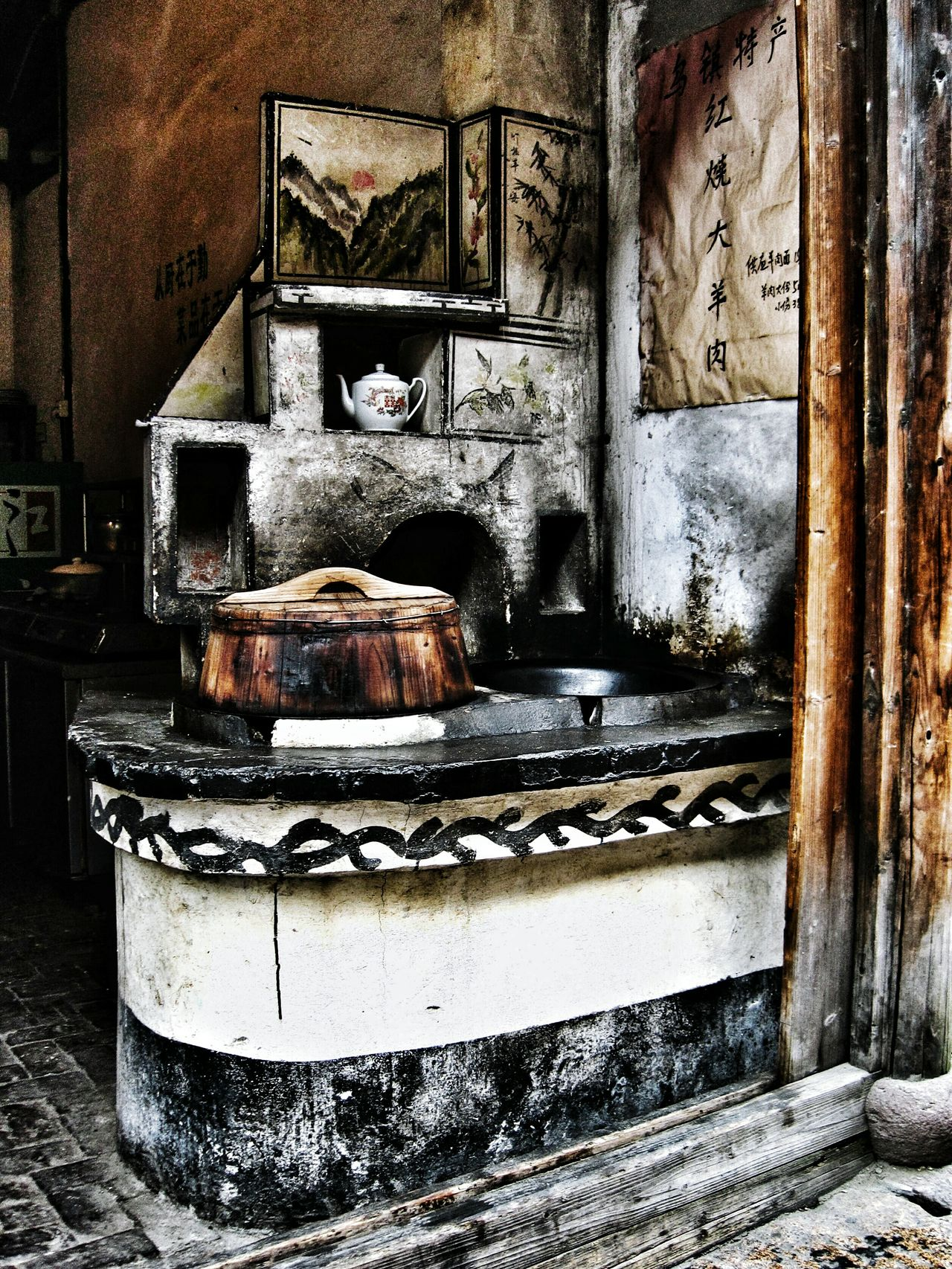 Old stove Old Indoors  No People Old Town Asianstyle Asian  Kitchen Ash Black Stove