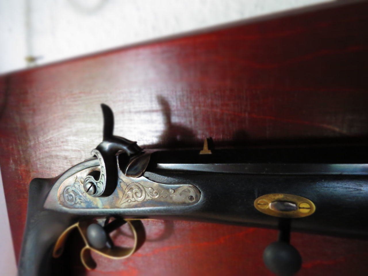 metal, close-up, indoors, old-fashioned, no people, red, day, record player needle