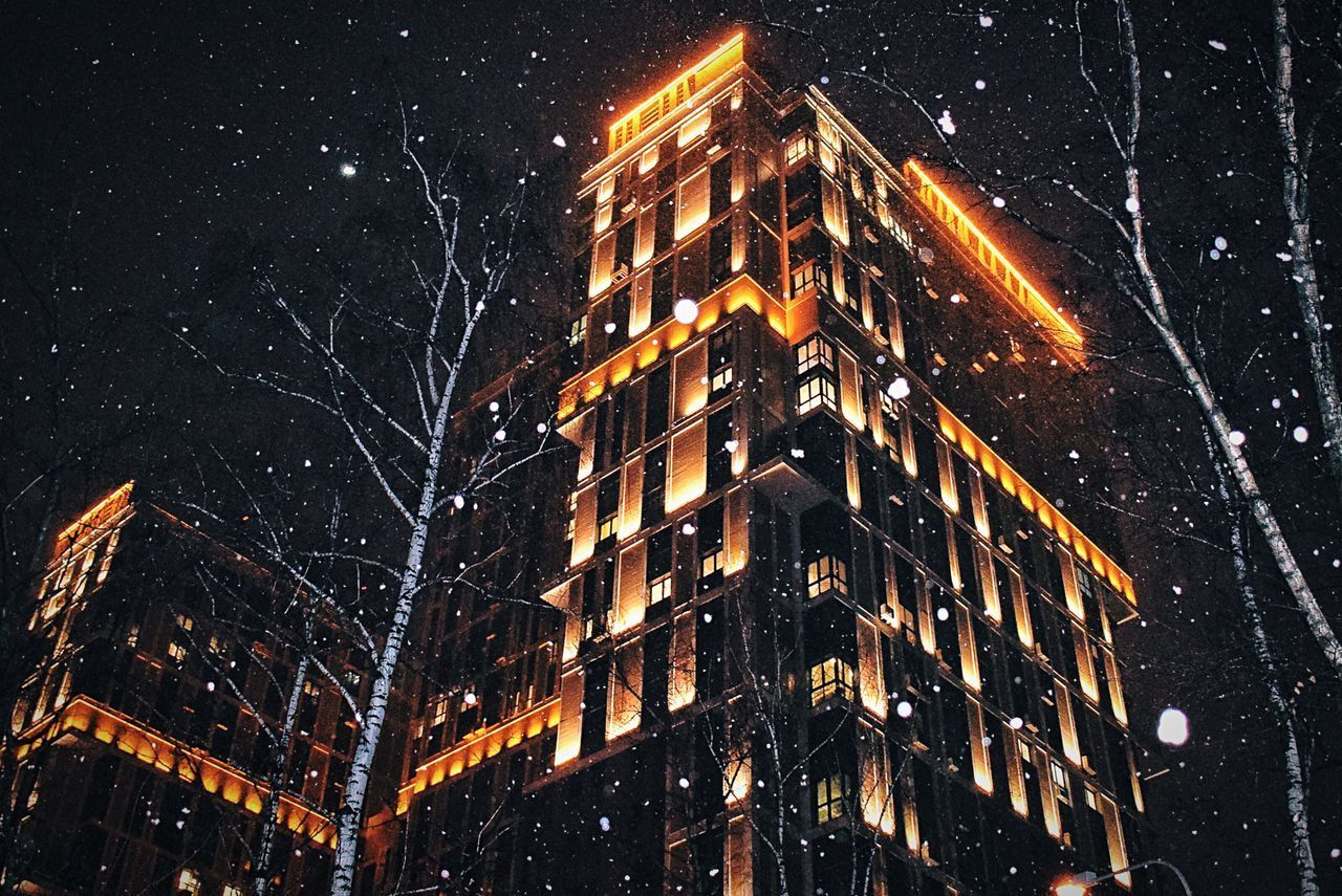 Winter won't let us jump into spring that easy 🙄☃️ Night Illuminated Low Angle View Building Exterior City Outdoors No People Sky Architecture Futuristic Snowing Building Nightphotography Night Lights Night Photography Nightlights Snow Snow ❄ Snow❄⛄ Moscow