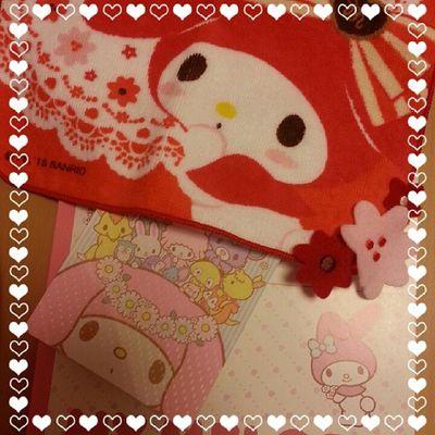 Mymelody Sanrio マイメロ Note ハンカチtowelhandkerchief pink memocute