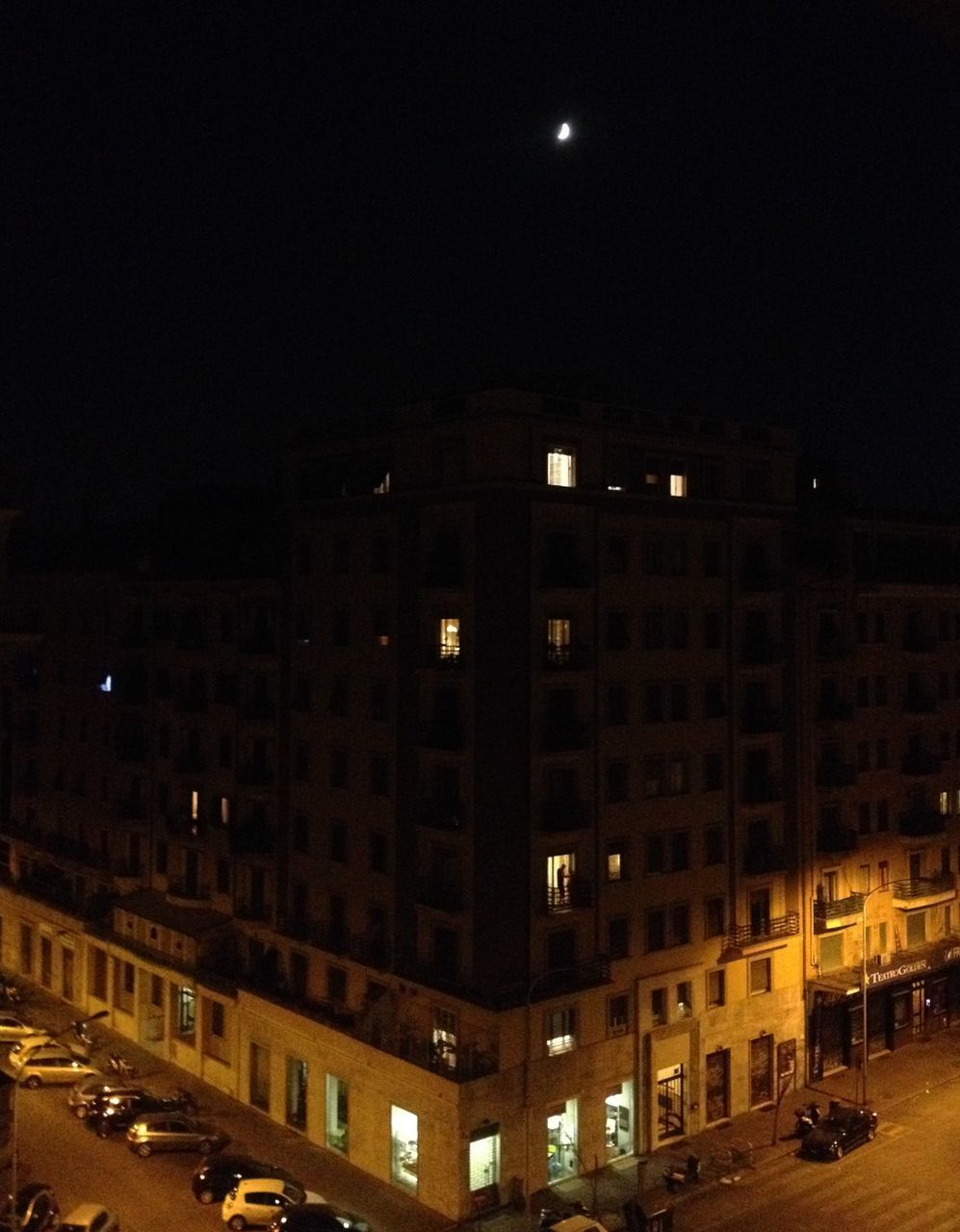 night, city, architecture, illuminated, street, building exterior, moon, built structure, no people, outdoors, cityscape, sky