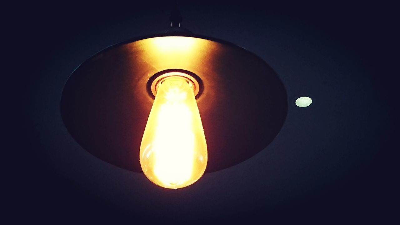 illuminated, lighting equipment, light bulb, electricity, glowing, no people, close-up, low angle view, black background, indoors, sky