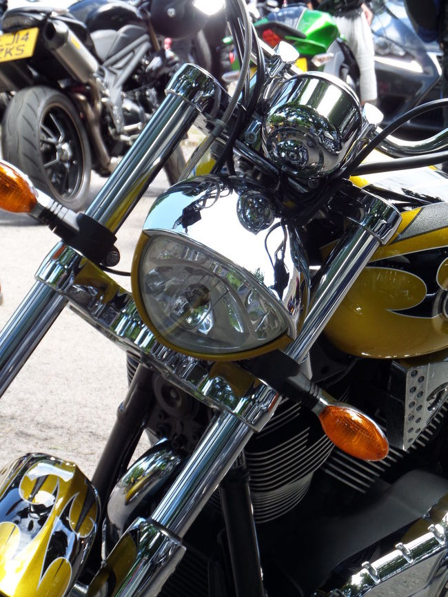 Arrangement Chrome Headlight. Close-up Day Front Forks. Front View Of Motorcycle. Large Group Of Objects leisure activity Metallic. Motorcycle Motorcycle Headlight. No People No People, Part Of Shiny Still Life Variation Yellow Colour Yellow Paintwork. Chrome.