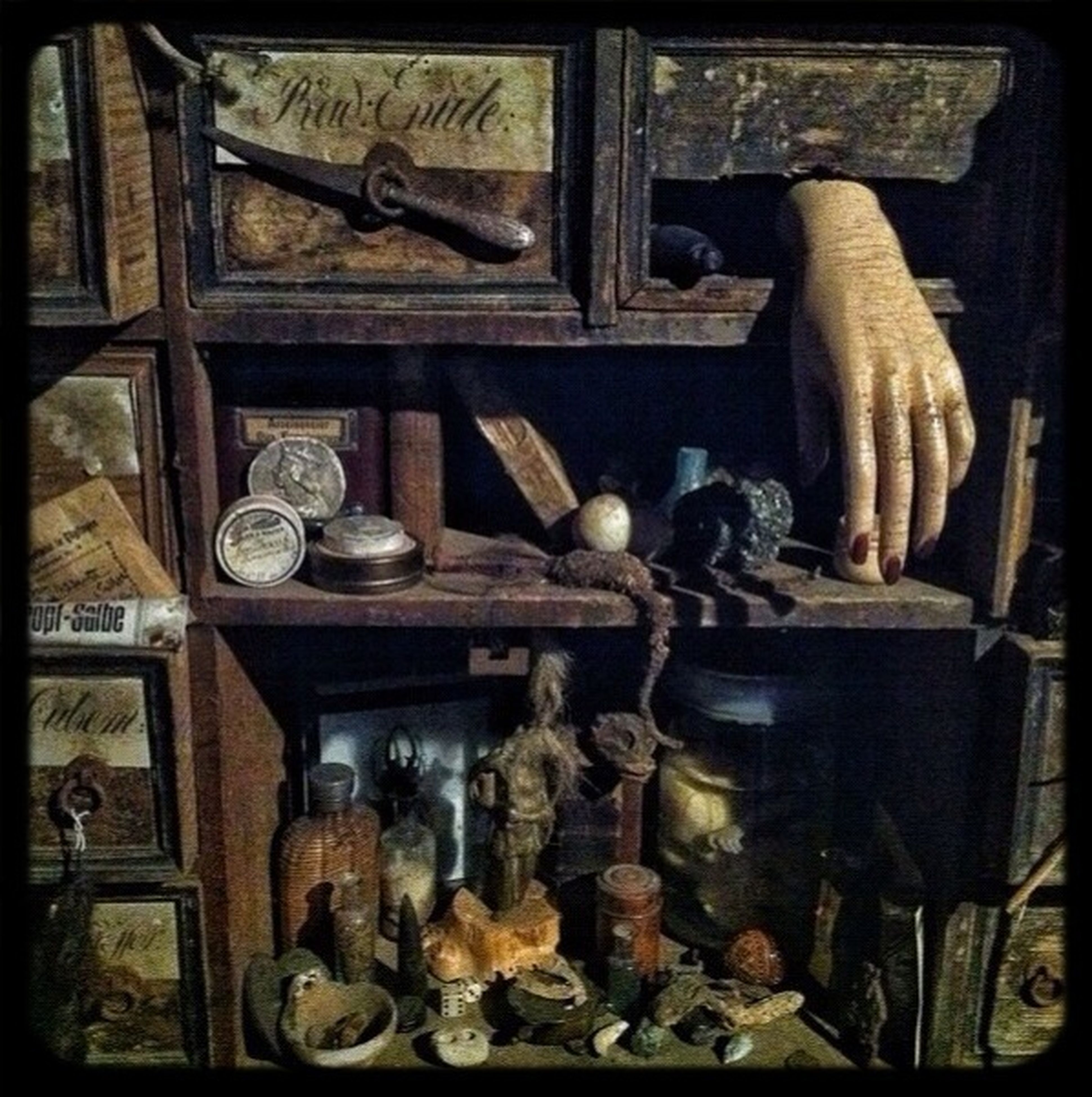 indoors, transfer print, auto post production filter, still life, food and drink, food, table, shelf, home interior, large group of objects, no people, domestic kitchen, close-up, wood - material, preparation, variation, old-fashioned, day, stack, metal