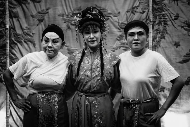 Shades Of Grey Life Of An Artiste Street Opera Backstage Black And White Chinese Opera Troupe Traditional Culture Asia Art Form Asian Woman Painted Face Lady Elderly Street Performer