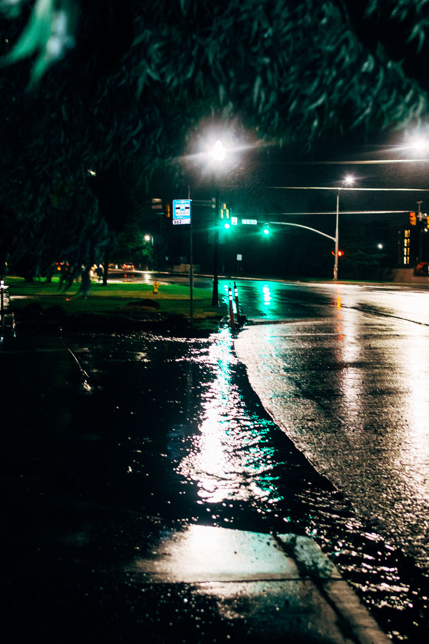 illuminated, night, wet, transportation, water, outdoors, real people, tree, one person, people
