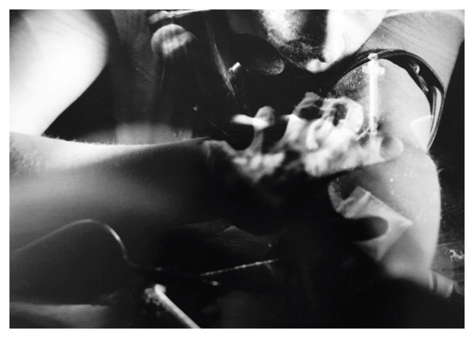 """Addictions 4. From my series of 12 photos, entitled """"Addictions, Obsessions, Compulsions"""". Shot on Kodak TMax 100 film with my Canon EOS Rebel K2. Check This Out Conceptual Photography  Conceptual Image Sandwiched Negatives Double Exposure Film Photography Conceptual Self Portrait Story Photography Addiction Needles Drugs Contrast Blackandwhitephotography Cindy Sherman Inspired By Cindy Sherman B&W_collection"""
