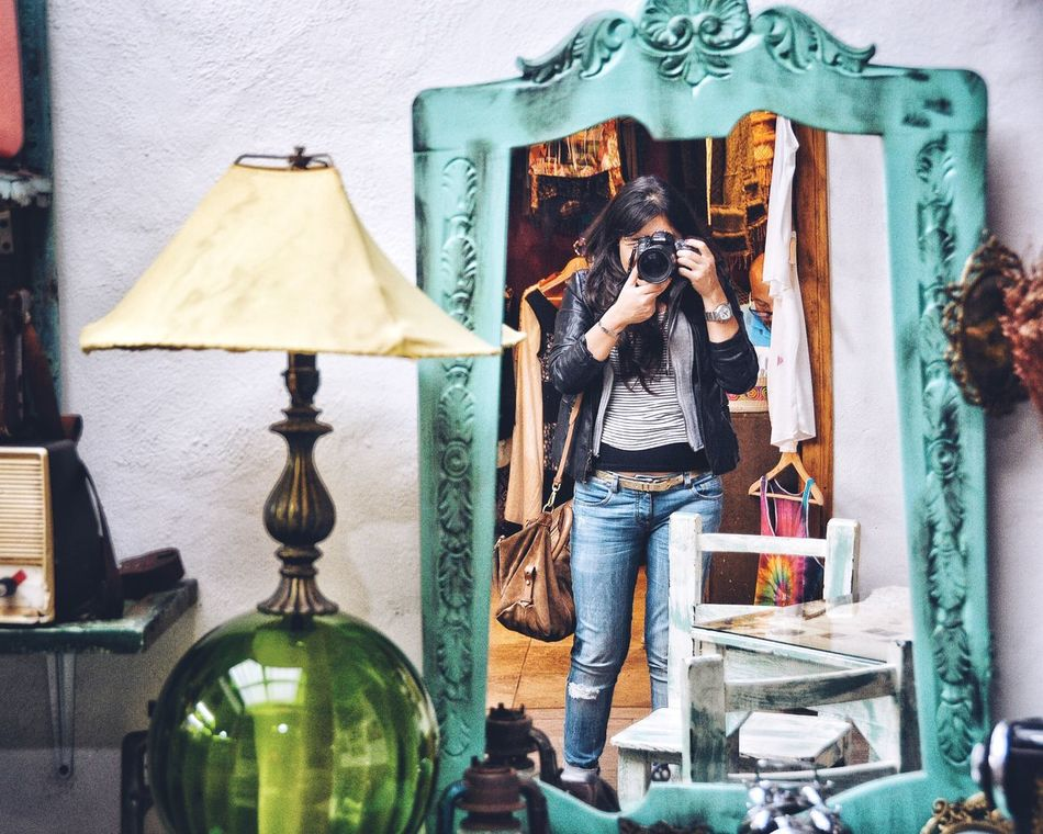 Mirror mirror on the wall. Women Lifestyles Real People Standing Self Portrait Taking Photos Mirror Leisure Activity Camera Photographer Cliche Photos Full Length Young Women People Hobbies Entertainment