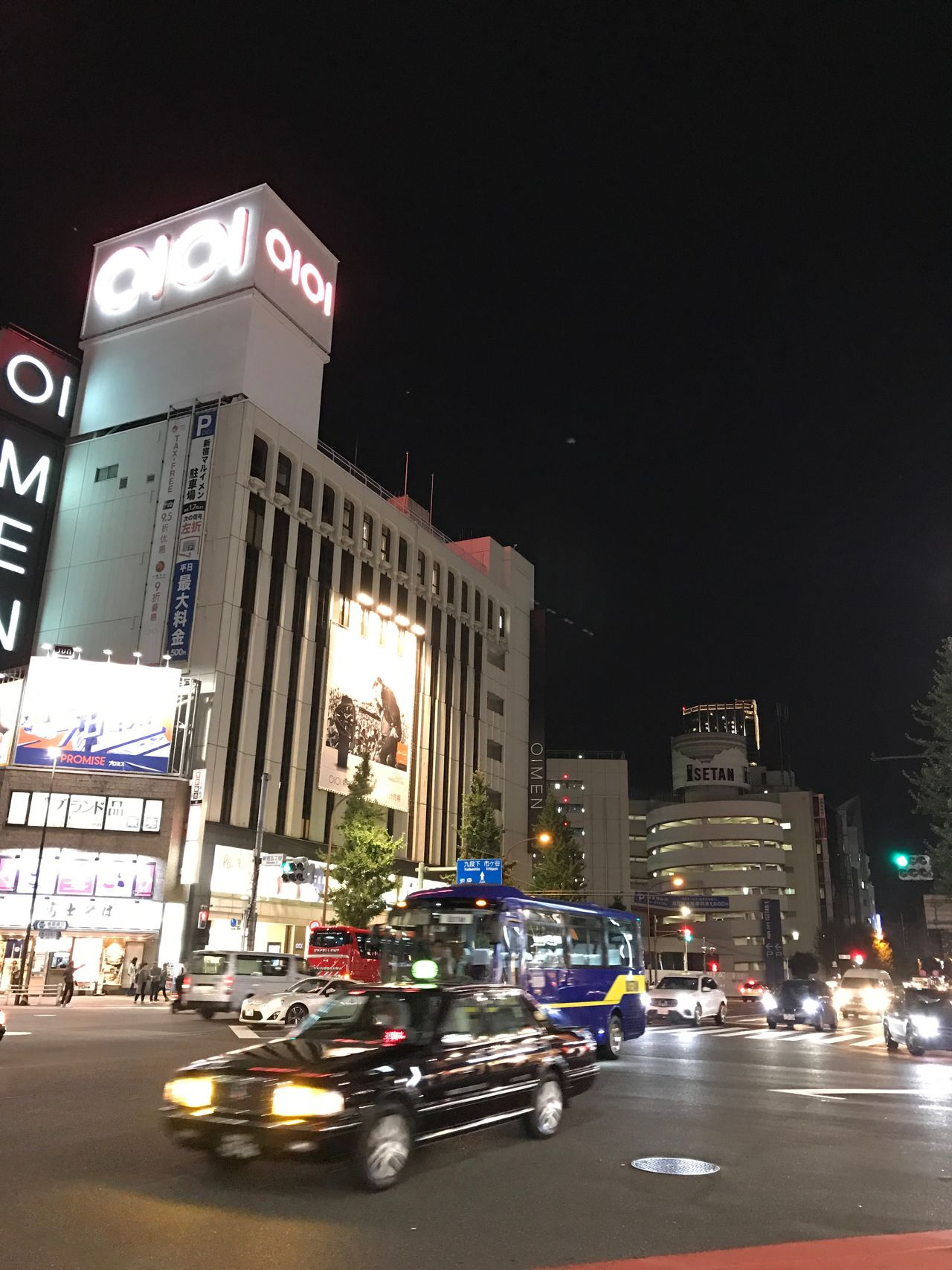 Shinjuku. Car Built Structure Architecture Building Exterior Land Vehicle Transportation Mode Of Transport Night City Illuminated Street Travel Destinations City Life Advertisement Modern Skyscraper Tower Information Sign Office Building Tall - High Megalopolis