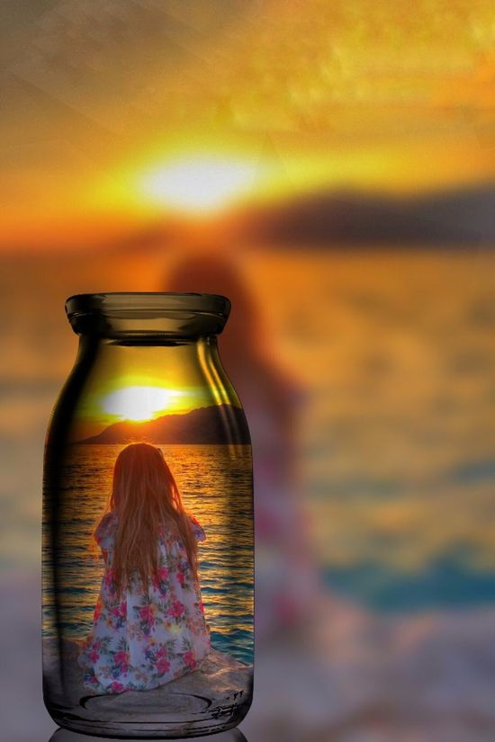 Girl in a bottle Girl Dress Sunset Bottle Beach Croatia Baskavoda Travel Sea