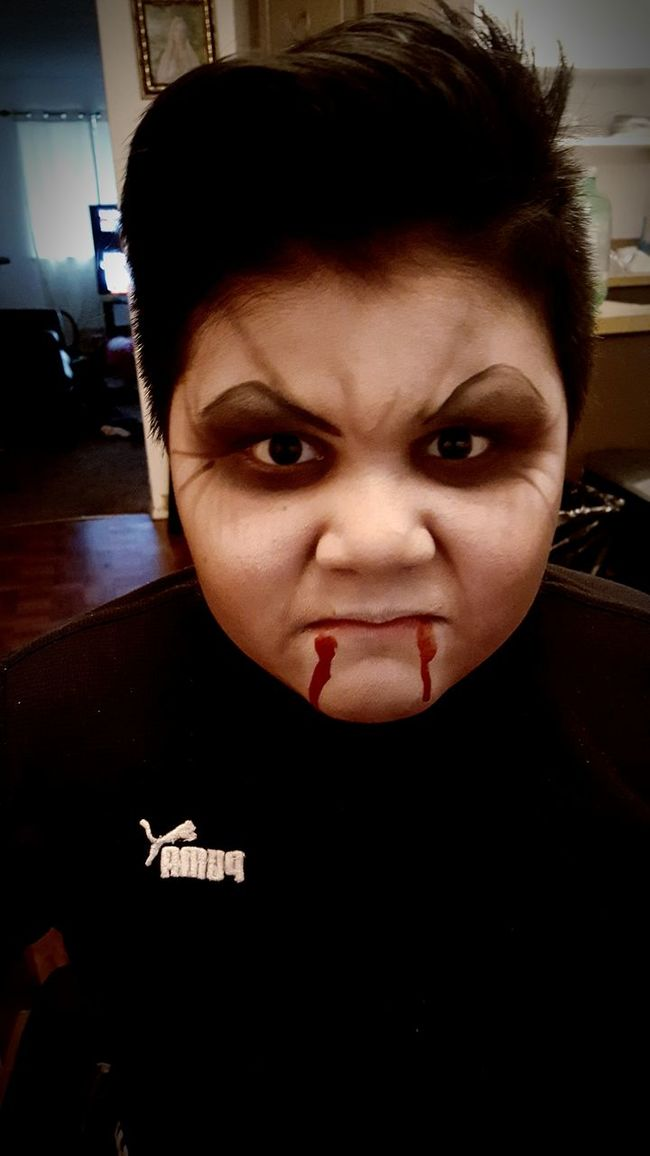 Childhood Portrait Looking At Camera Indoors  Close-up Elementary Age Cute Front View Person Innocence Human Eye Red Vampire Halloween Makeup Halloween By Me My Artwork
