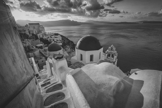 Oia Light and Shade Oia Santorini Greece BW Landscape Long Exposure Sea And Sky Landscape Greek Island Greek Summer Greek Landscape Oia Santorini Oia Village Holidays Santorini Island Monochrome Steps And Staircases Steps To The Sea Step Down Black And White Photography BW Street The Architect - 2016 EyeEm Awards