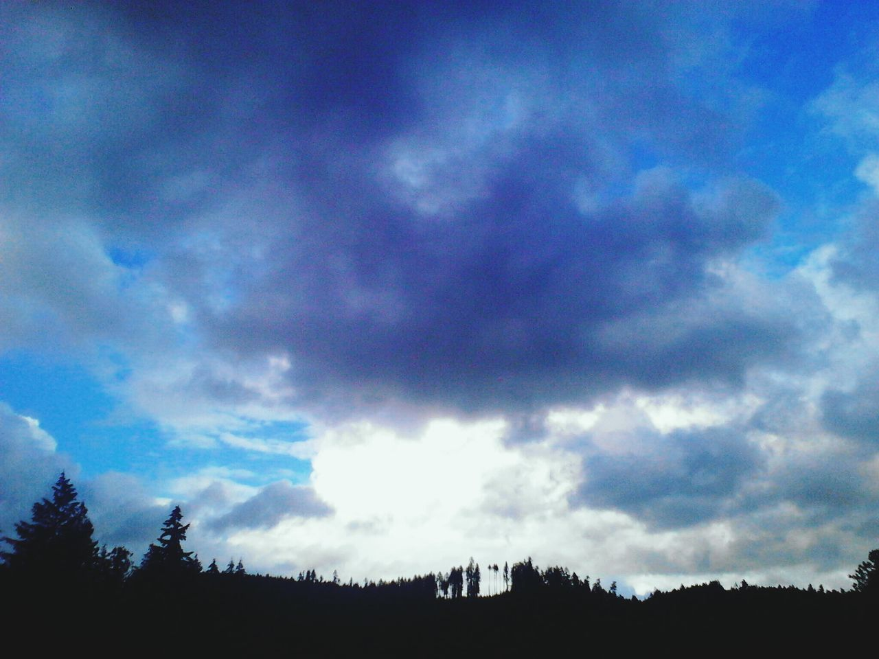sky, cloud - sky, silhouette, low angle view, tree, nature, beauty in nature, tranquil scene, scenics, no people, tranquility, built structure, day, outdoors, blue, architecture