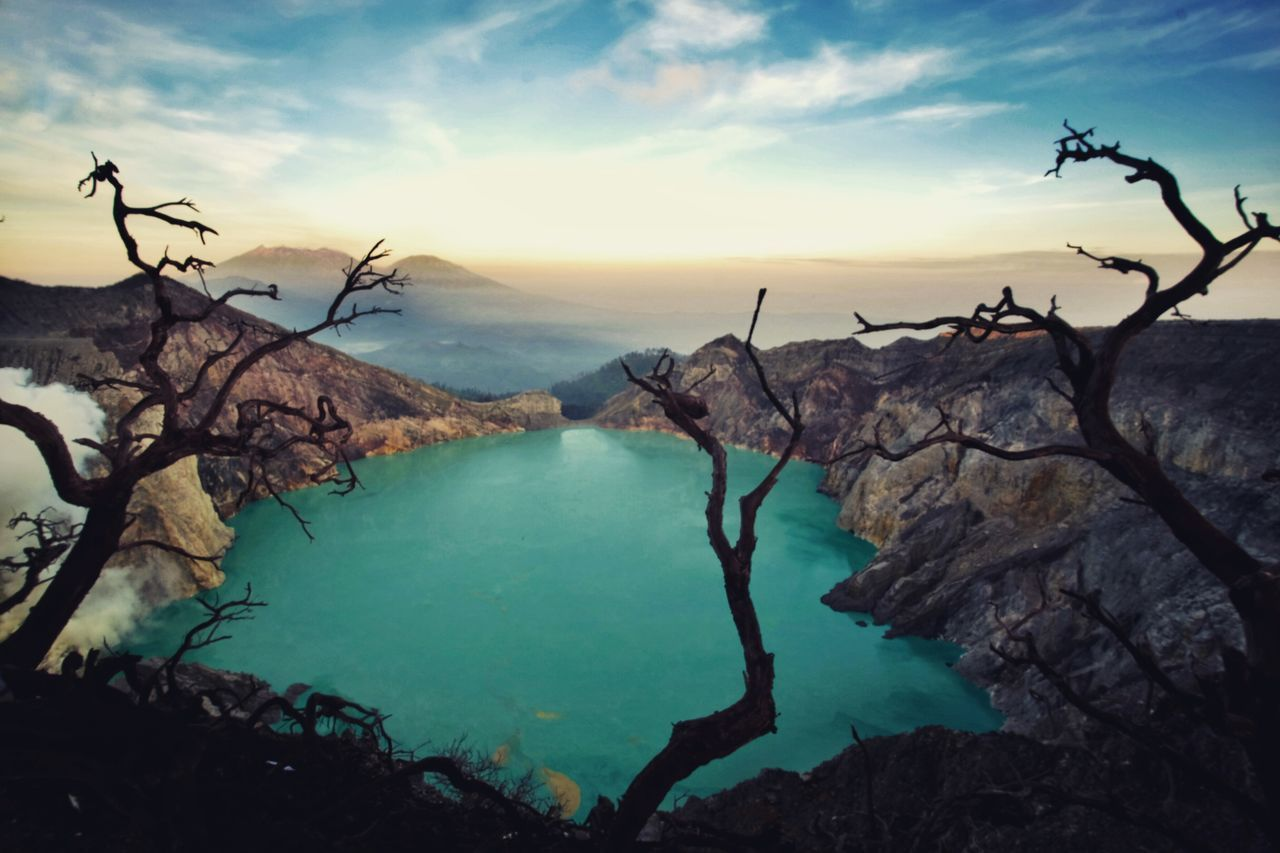 Landscape Water Nature Mountain Outdoors No People Cloud - Sky Beauty In Nature Lake Scenics Sky Beauty Bare Tree Day Tree Hot Spring Ijen Ijen Crater