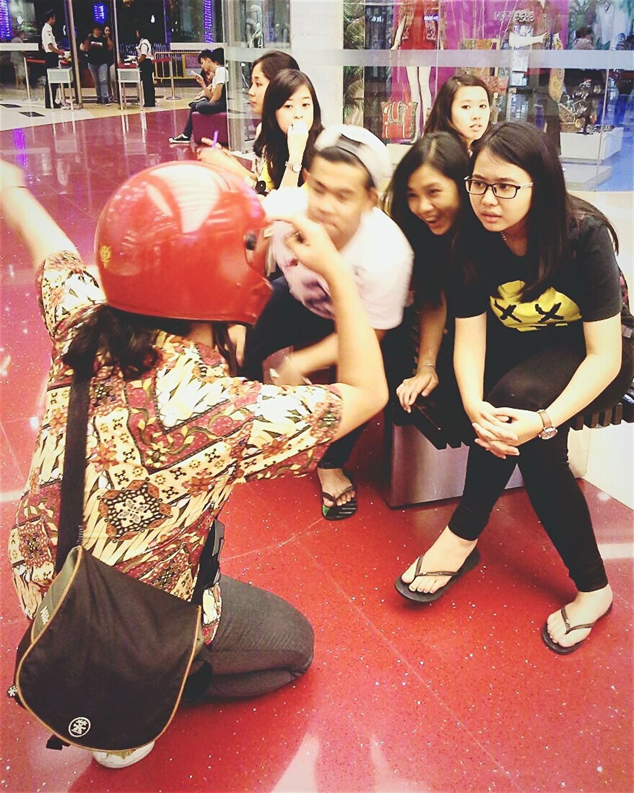 ...me teaching hahaha RePicture Friendship Students Lecture Simpson Helmet BatikIndonesia Batik Red Quality Time EyeEm Indonesia