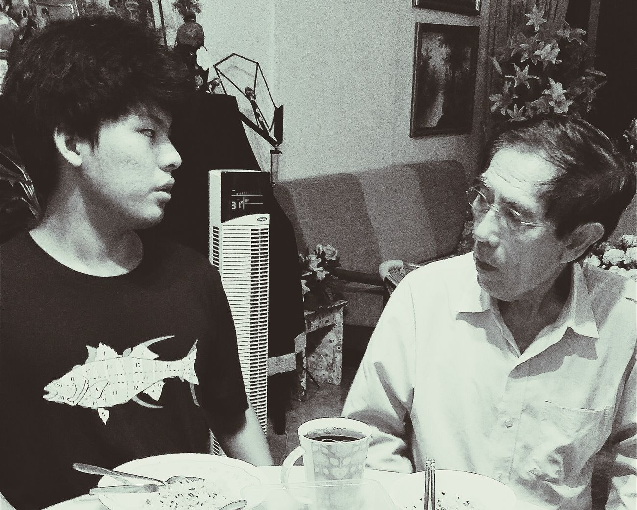 Son turned 19 7 July Birthday Dinner Birthday Celebration Bnw Capture The Moment My Father Grandson Grandfather Eyeem Photography EyeEm Gallery EyeEm Bnw Singapore