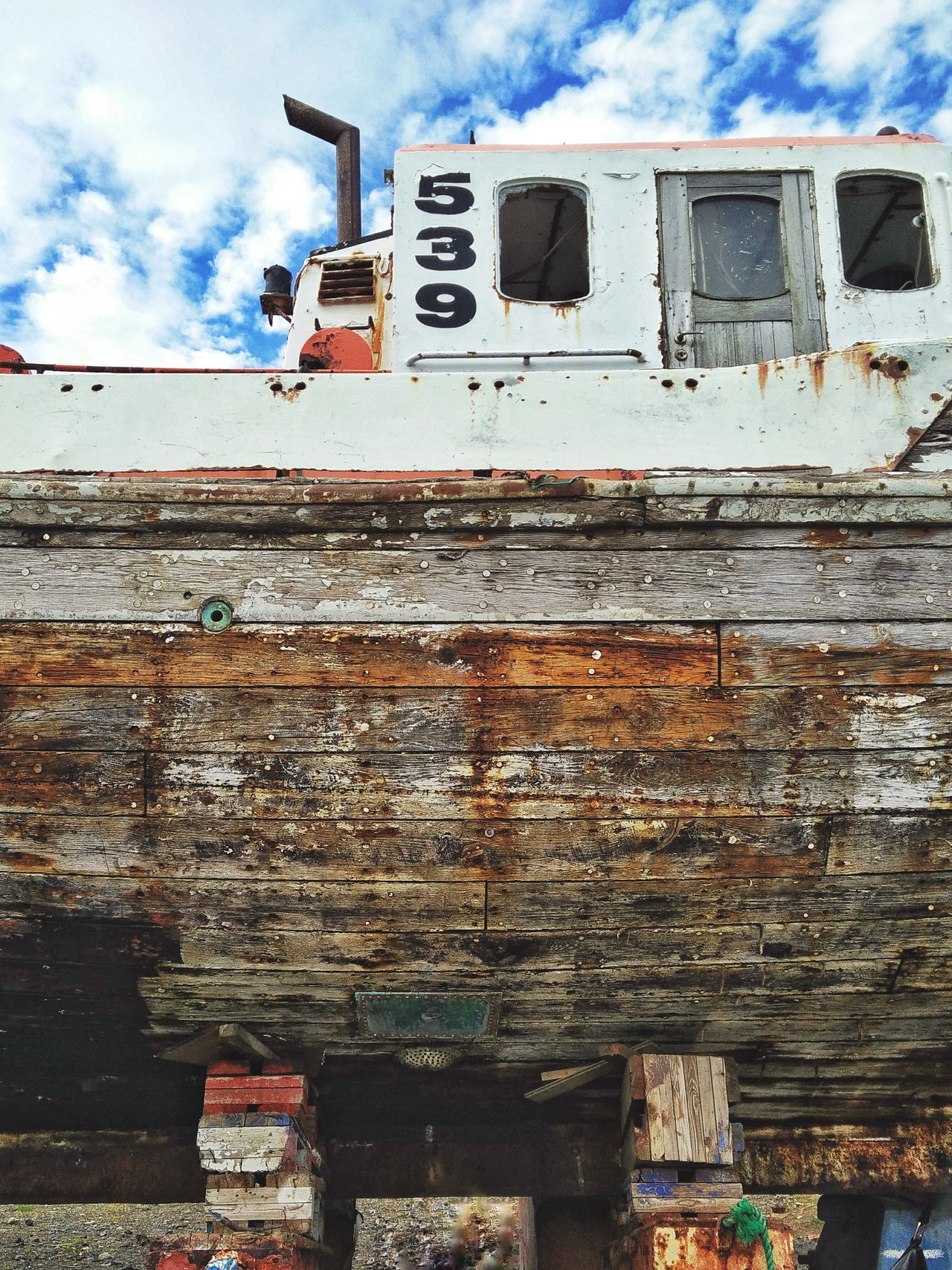 Cloud - Sky Sky Mode Of Transport Outdoors Low Angle View Transportation Day No People Land Vehicle Freight Transportation Nature Boat Old Boat Wooden Boat Wooden Hull Iceland Reykjavik