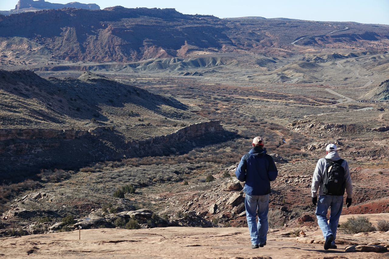 USA Photos Walking Full Length Journey Rear View Hiking Mountain Two People Men Real People Adult Day Outdoors Desert People Arid Climate Sunlight Nature Togetherness Lifestyles Adventure Travel Beauty In Nature Landscape Streamzoofamily