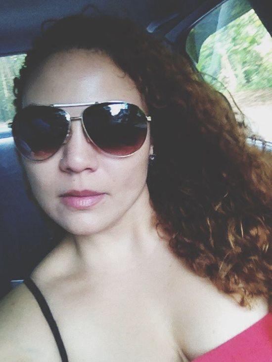 Good Morning! In The Car Woman Faces Of EyeEm Sunglasses Selfie Curly Hair Curls EyeEm Woman Puertorriqueña
