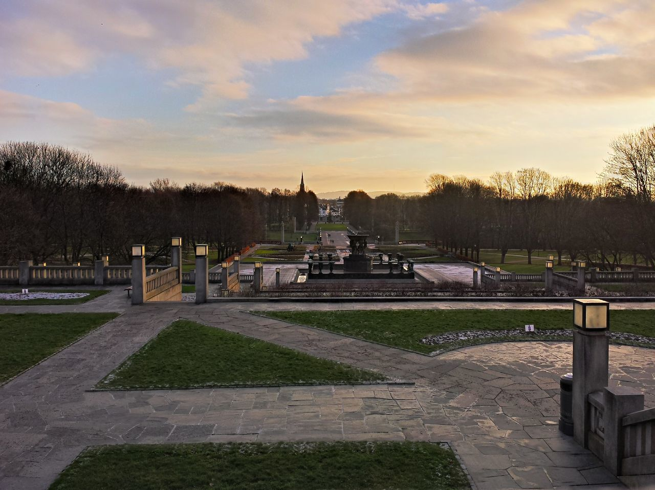 High Angle View Of Park During Sunset