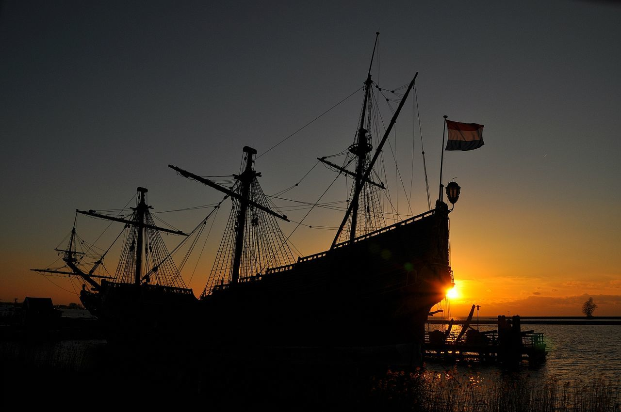 Old Ship VOC Silhouette Pirateship  Pirate Ship Pirates Of The CaribbeanShip Silhouette Sunset Orange Sunset Taking Photos Check This Out The Week On Eyem Ship Ship Details Details Hello World Sunset_collection Sunset Silhouettes Orange Sky And Orange Sun Big Ship Netherlands Our Best Pics Boat Sillouette