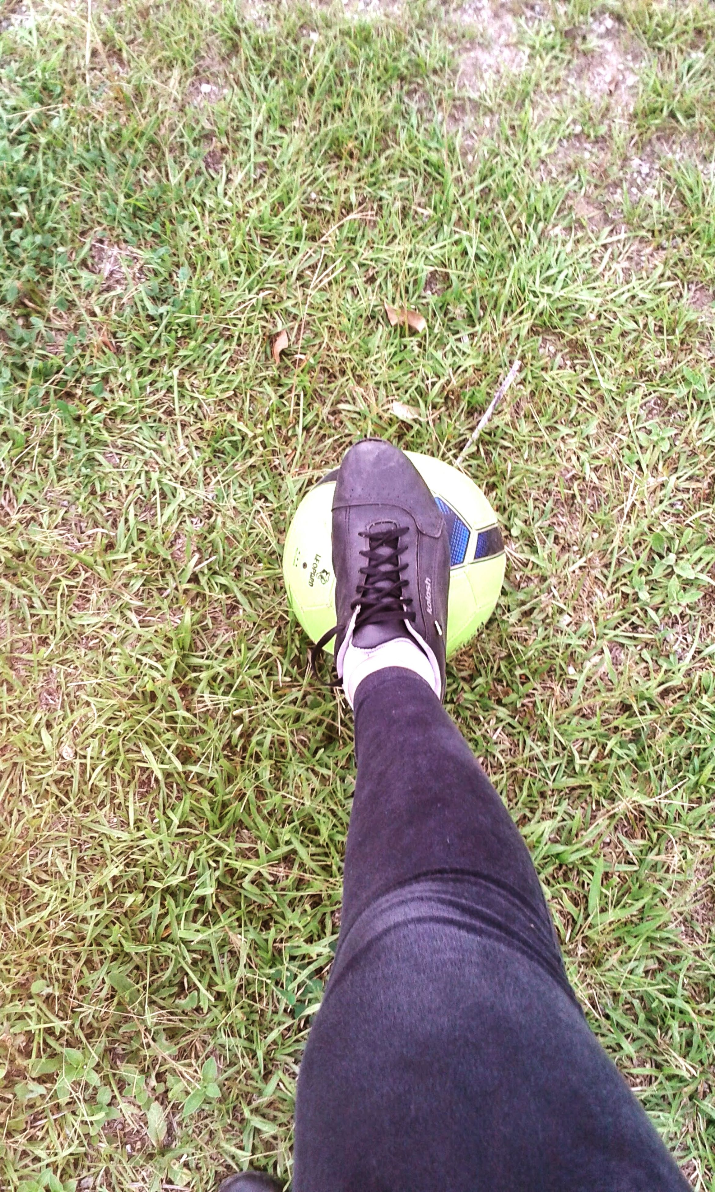 low section, person, grass, personal perspective, shoe, grassy, field, standing, lifestyles, jeans, high angle view, footwear, human foot, leisure activity, unrecognizable person, men, green color