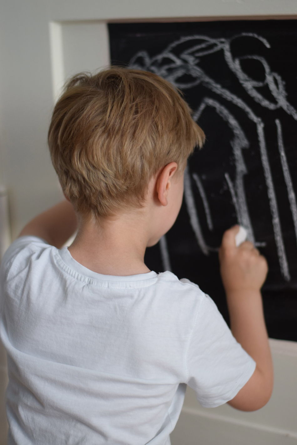 Beautiful stock photos of art, Blond Hair, Boys, Caucasian Ethnicity, Chalk