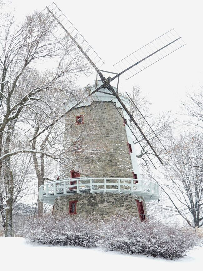 Windmill Winter Snow Snowing Day Wintertime Fleming