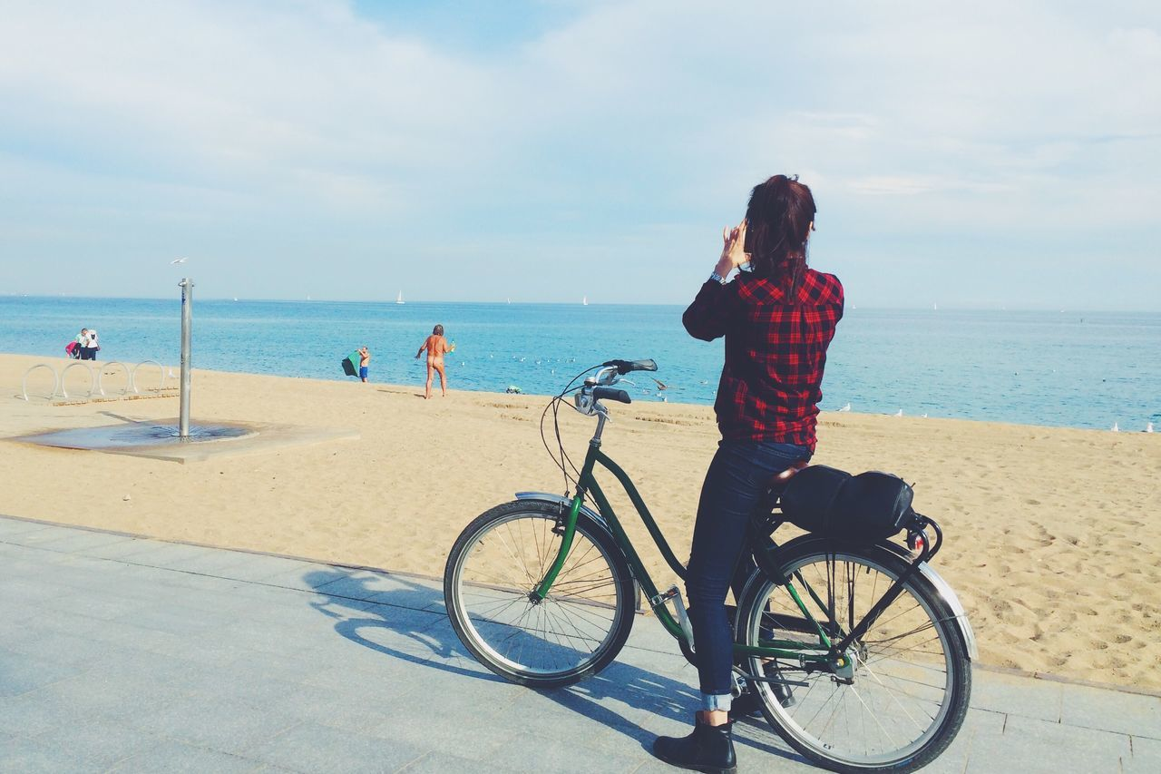 Beautiful stock photos of spain, Barcelona, Beach, Beauty In Nature, Bicycle