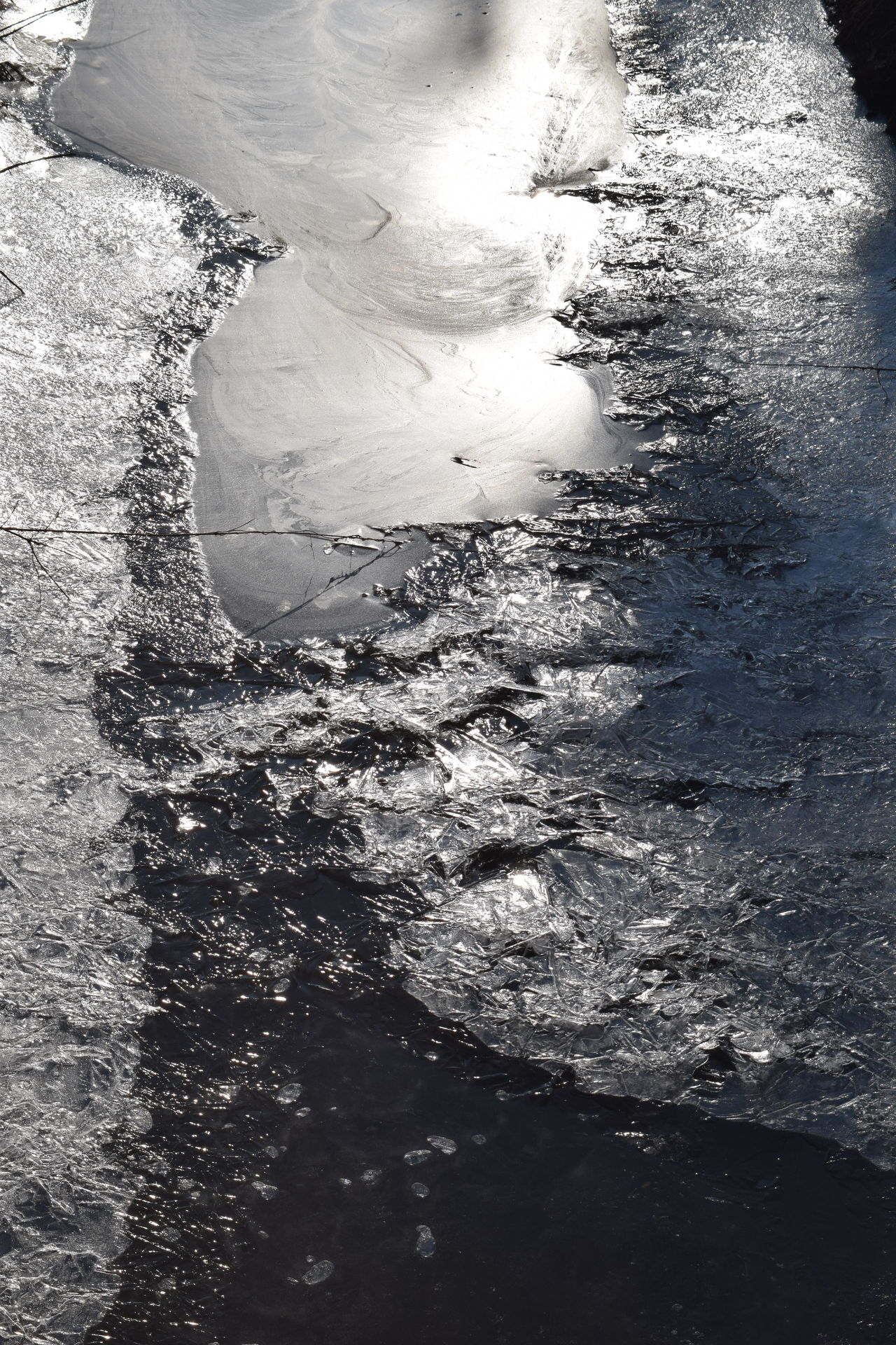 Abstract Water Iced Cracks Textured  Backgrounds Frosted Water_collection Full Frame Outdoors Sunlight Winter 2017 February 2017
