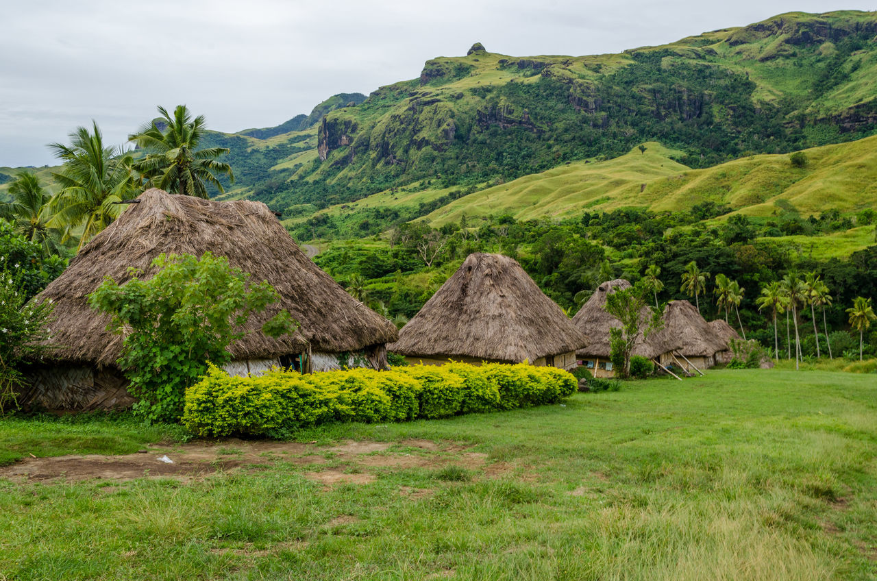 Navala village Beauty In Nature Bure Day Field Fiji Grass Green Color Huts Landscape Mountain Nature Navala Navala Village No People Outdoors Scenics Traditional Tranquility Village
