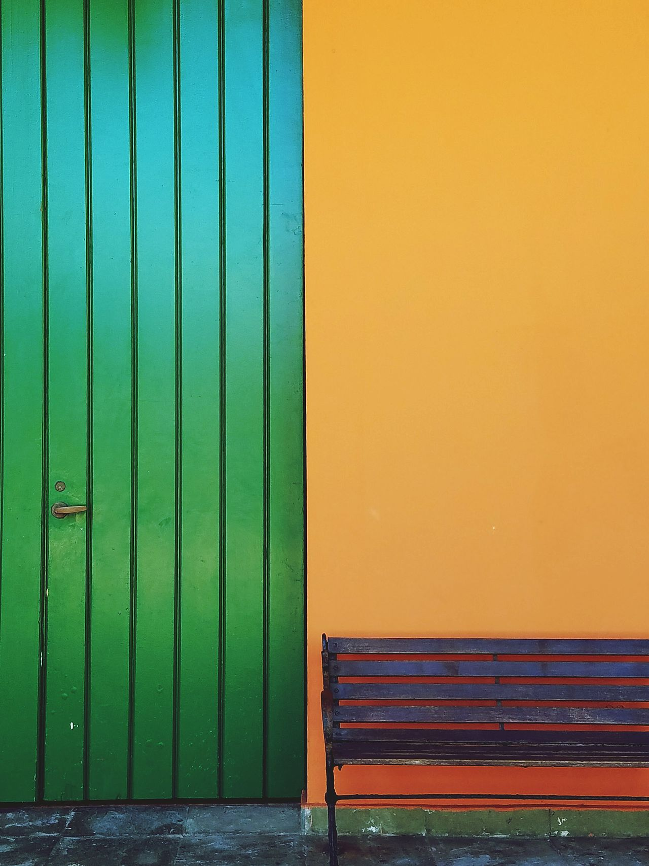 Closed Door Green Color Corrugated Iron Lines, Colors & Textures Bench Colors Of My City Architecture Simple Elegance Color Block Forms And Shapes Architectural Detail Simplicity Lines And Angles Minimalist Architecture Minimalism Perspective