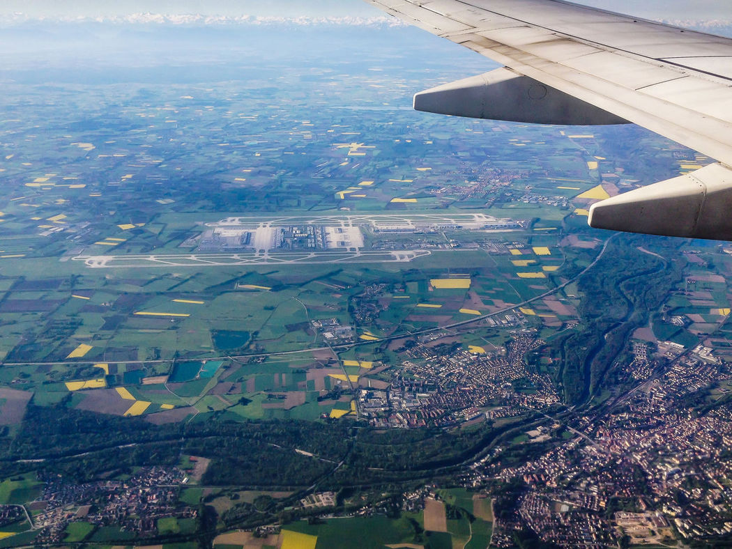 Aerial View Aeroplane Aircraft Wing Airport Architecture Cityscape Cropped Elevated View Erding Flughafen Flugzeug Flügel Freising Horizon Over Land Isar Mode Of Transport Mountain MUC Munich München Outdoors Residential District Scenics Sky TOWNSCAPE