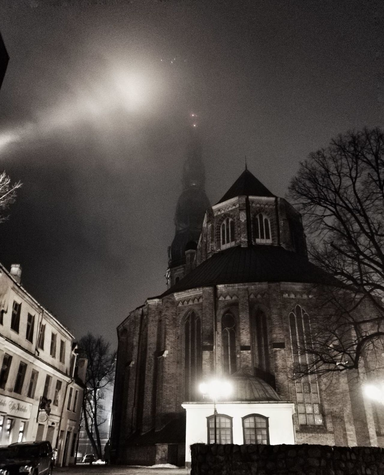 Architecture Building Exterior Night Illuminated Sky City Outdoors Saint Peters Chearch Riga Riga Old Town