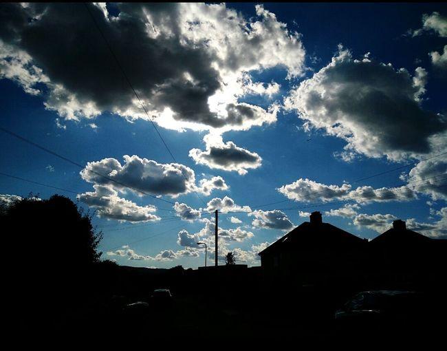 Sky And Clouds Blue Sky Sunlight Silohette House Tree