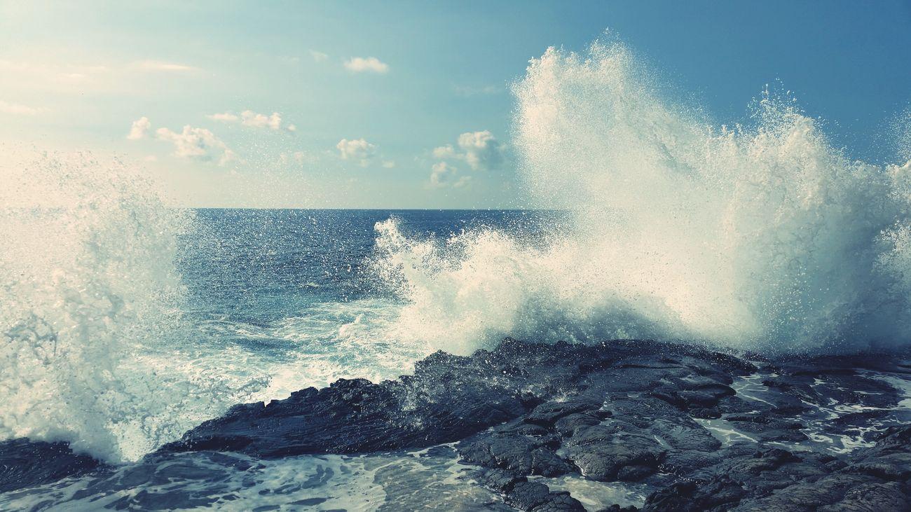 Beach Lava Rocks Hawaii Napo'opo'o Waves