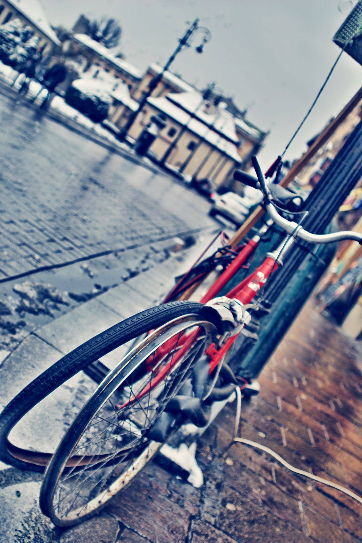 Outdoors No People Close-up Day Transportation Bicycle Broken Tires Tire Wheel City Wet Wet Street Deflated Rim Broken Damaged