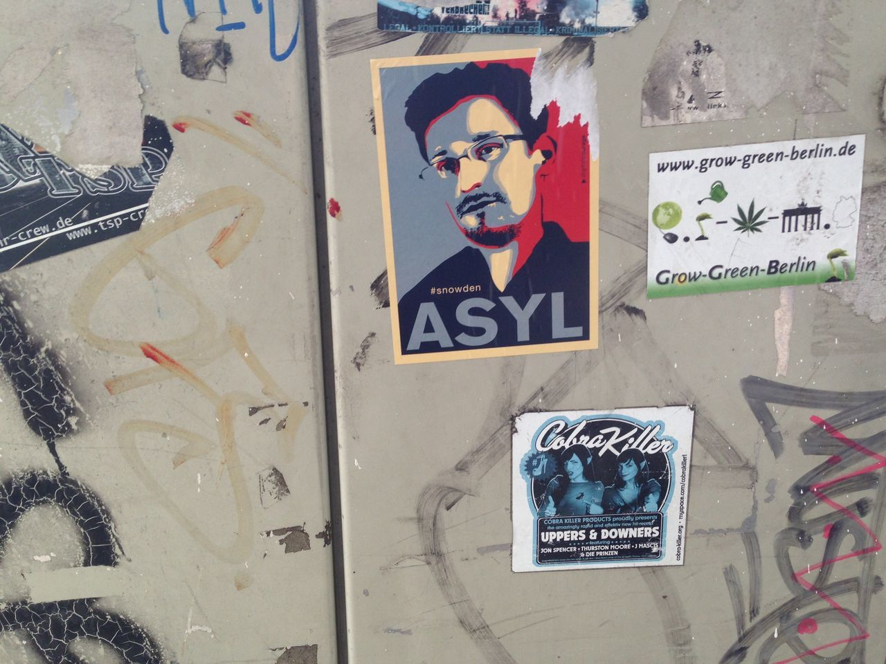 Asyl Close-up Distribution Box Distributor Box Edward Snowden Graffiti Smeared Stickers Text Verteilerkasten