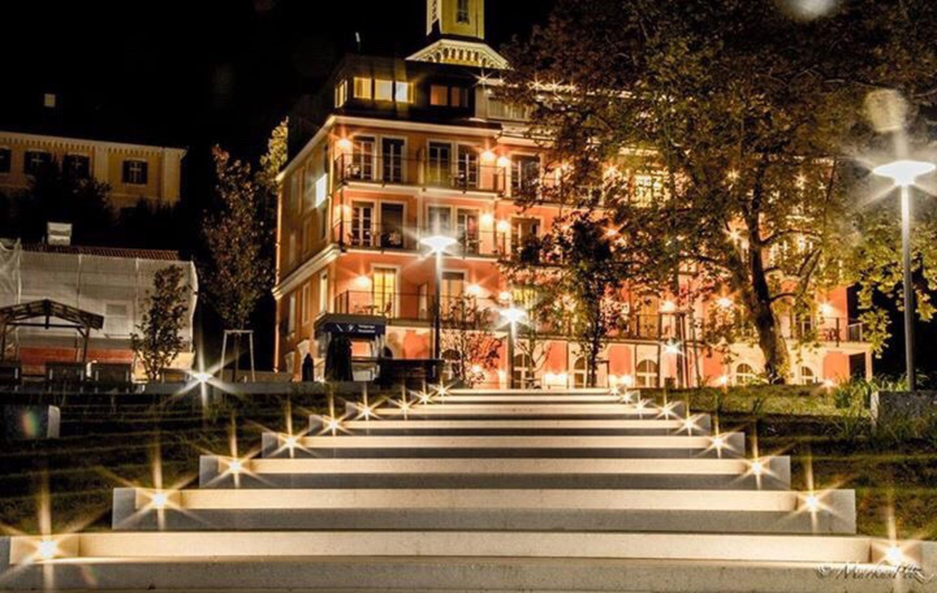 Hotel Stairs Night Lights Long Exposure Loveit Badgleichenberg