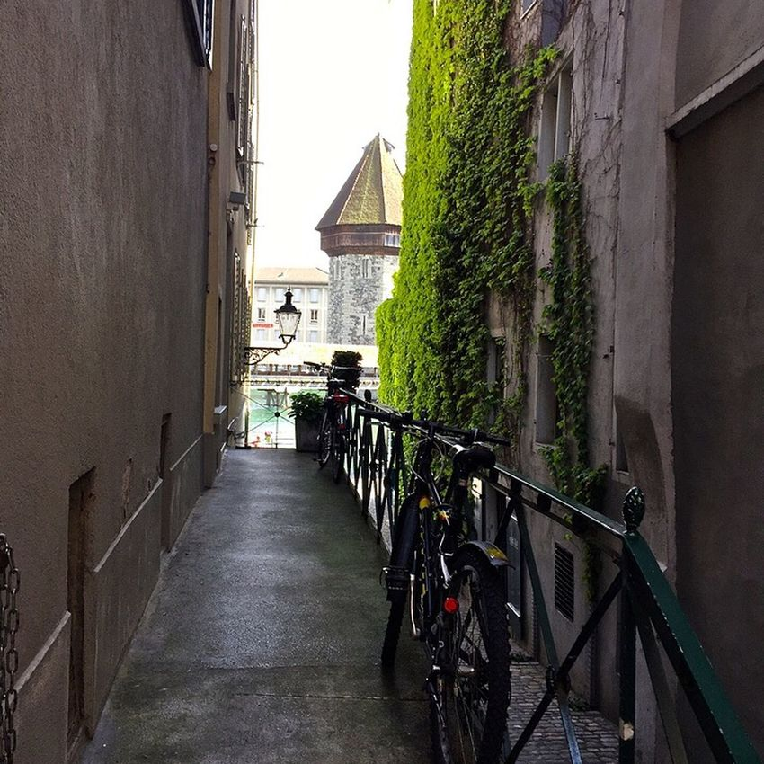 Lucerne Bicycle Sidestreet Alley TheChapelBridge Watertower Traveling Switzerland The Traveler - 2015 EyeEm Awards Europe