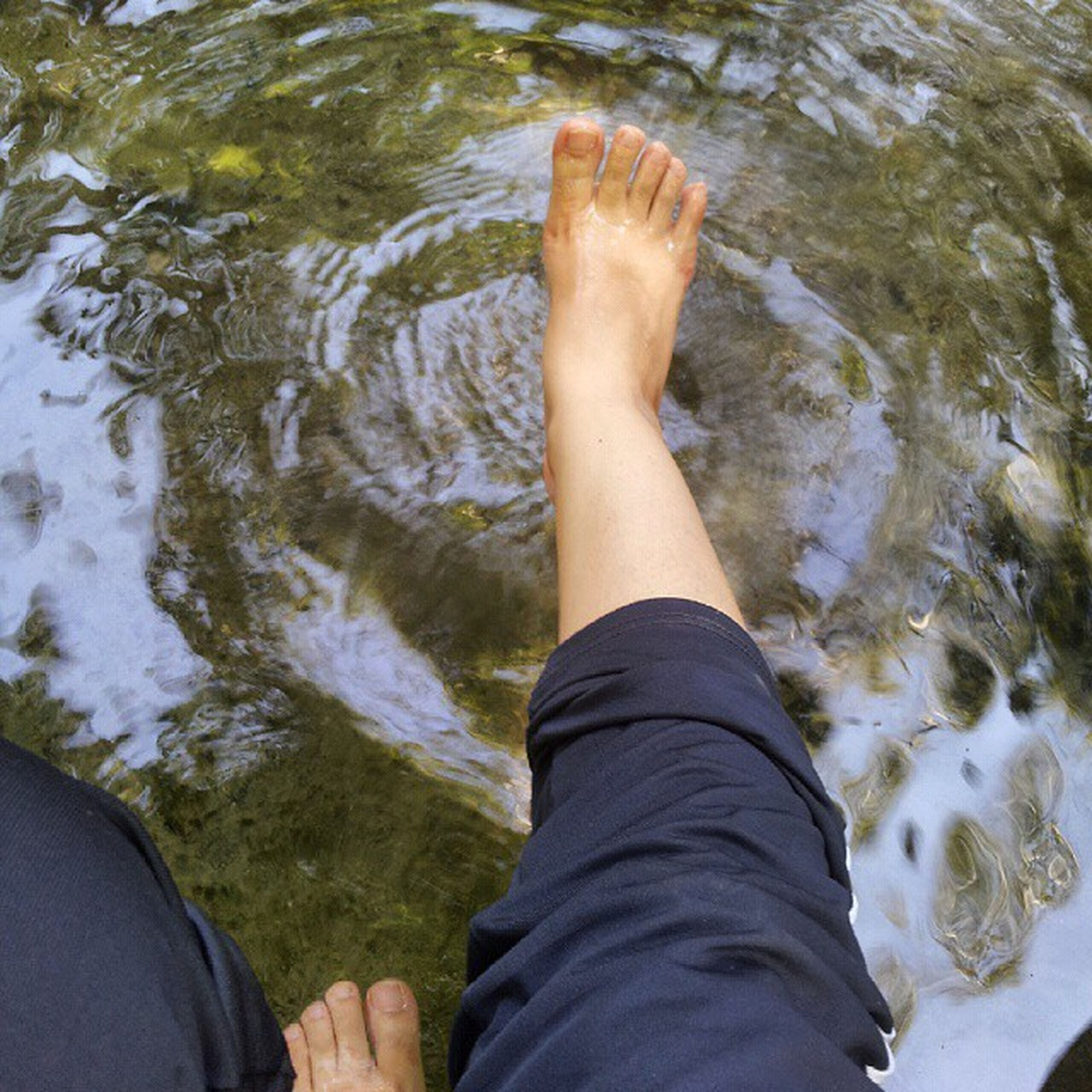 person, low section, personal perspective, water, lifestyles, leisure activity, human foot, men, lake, standing, relaxation, shoe, high angle view, barefoot, river, part of