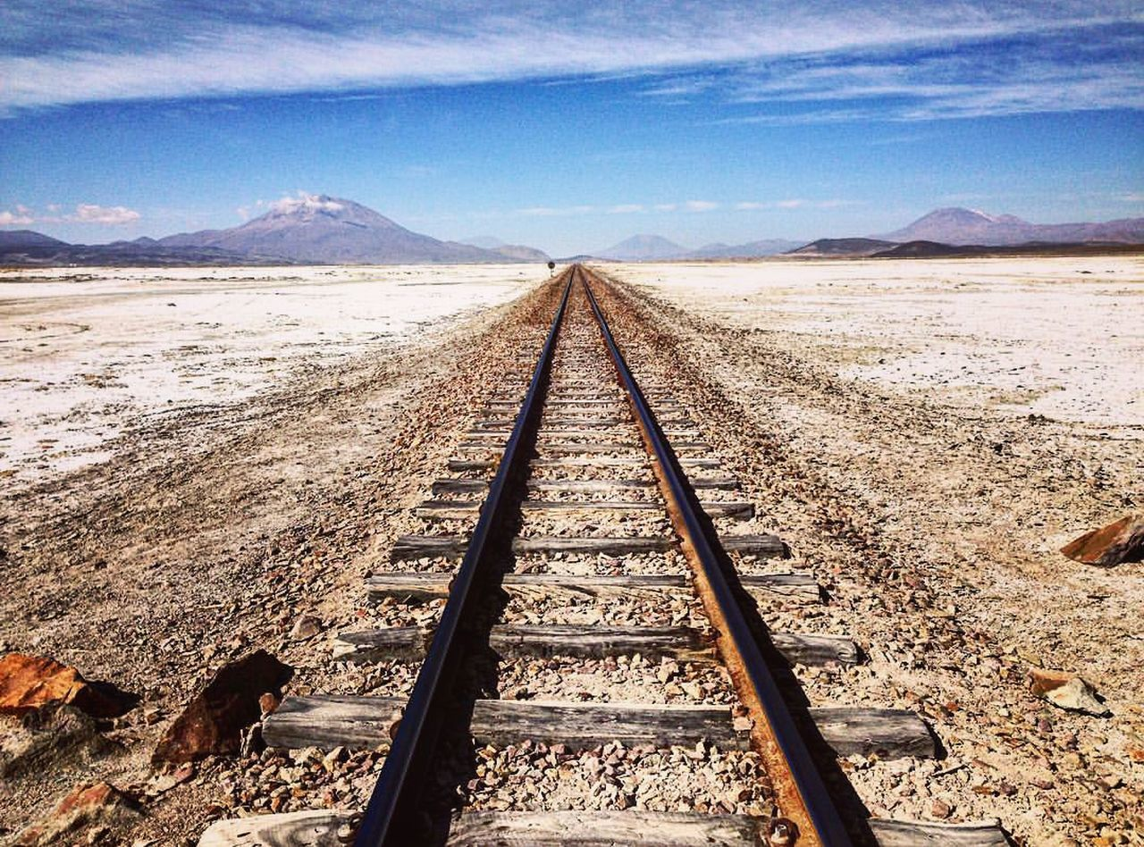 Sky The Way Forward Landscape Nature Outdoors Cold Temperature No People Day Uyuni Salt Flat Train Track Scenics Tranquil Scene Tranquility Bolivia Travel Destinations Travel Naturelovers Wonderful_places Arid Climate Desert Salt - Mineral