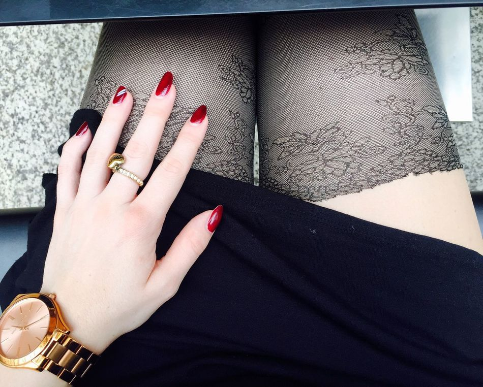 One Person Real People Human Hand Women Human Body Part Human Finger Fashion Ring Lifestyles Nails Tights Stockings Sexylegs Legs Close-up Style Details