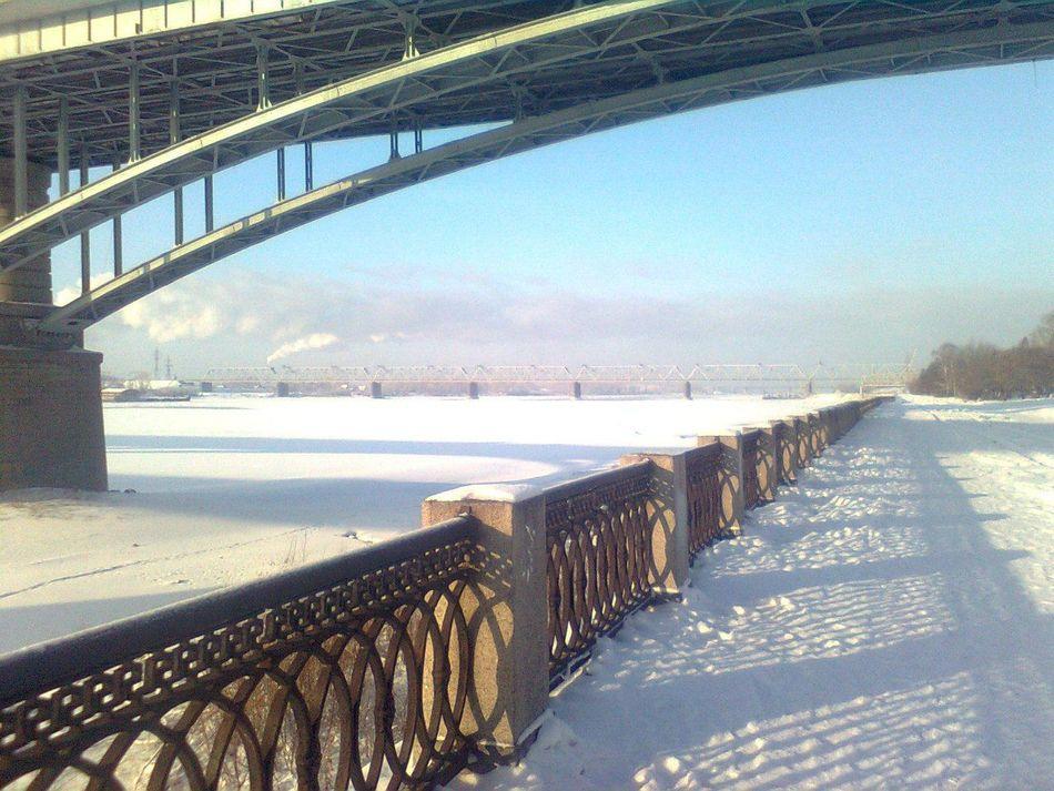 Новосибирск набережная река Обь пляж в снегу мост люблю этоместо