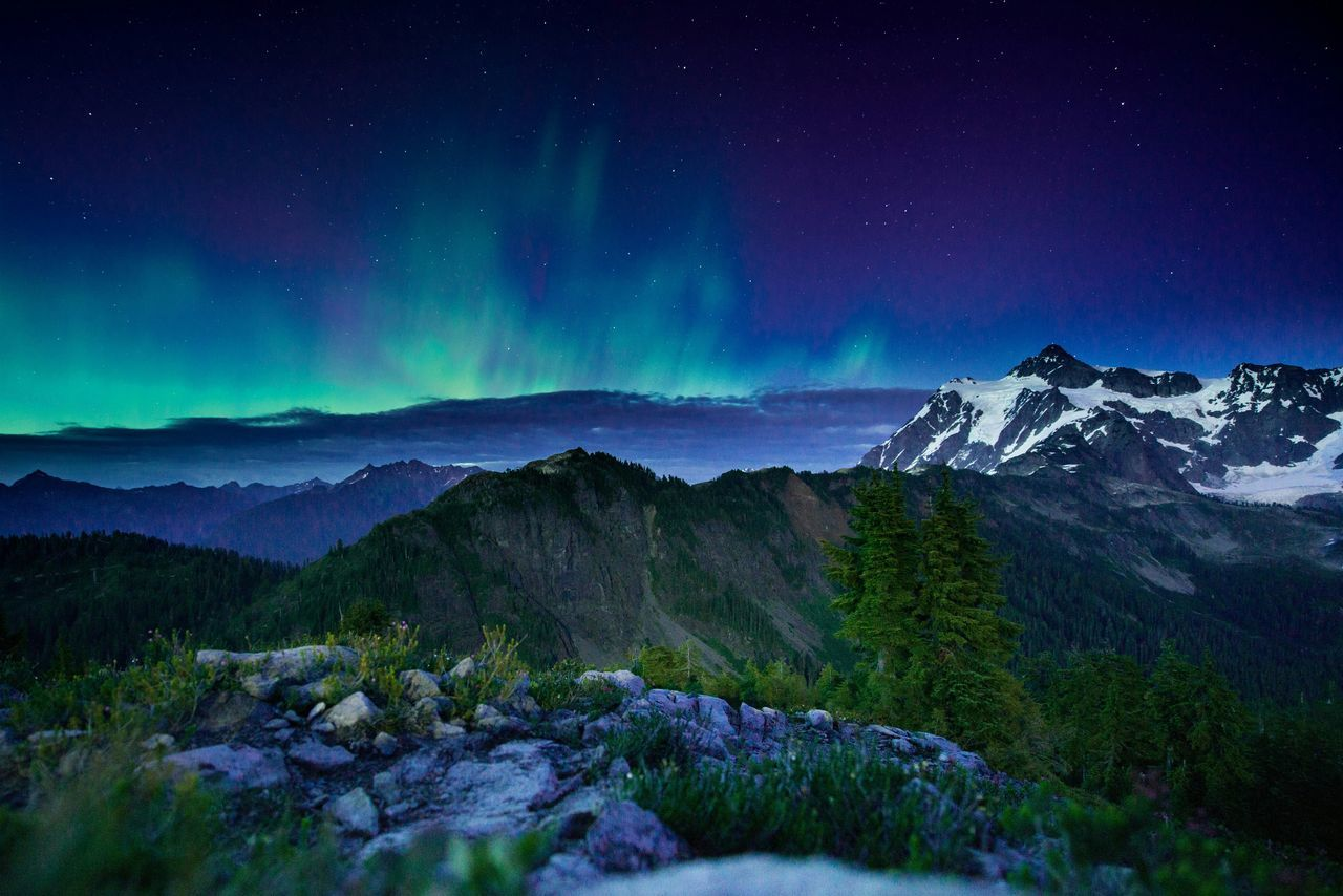 Mtbaker Artistpoint Northern Lights Washington Aurora Borealis EyeEm X WhiteWall: Landscapes